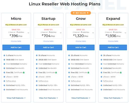 Linux reseller web hosting plan